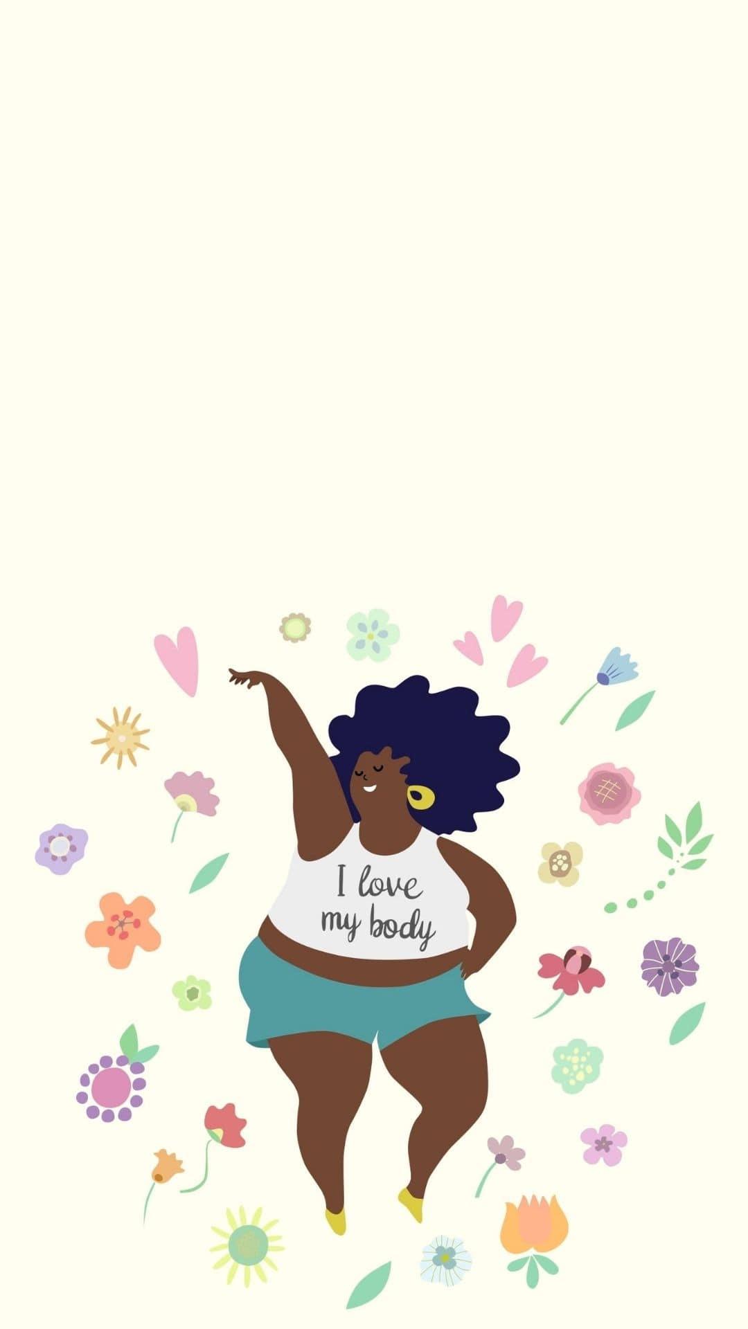 Tekening van een dikke Zwarte vrouw in een groene short en een witte crop top met daarop de tekst: I love my body