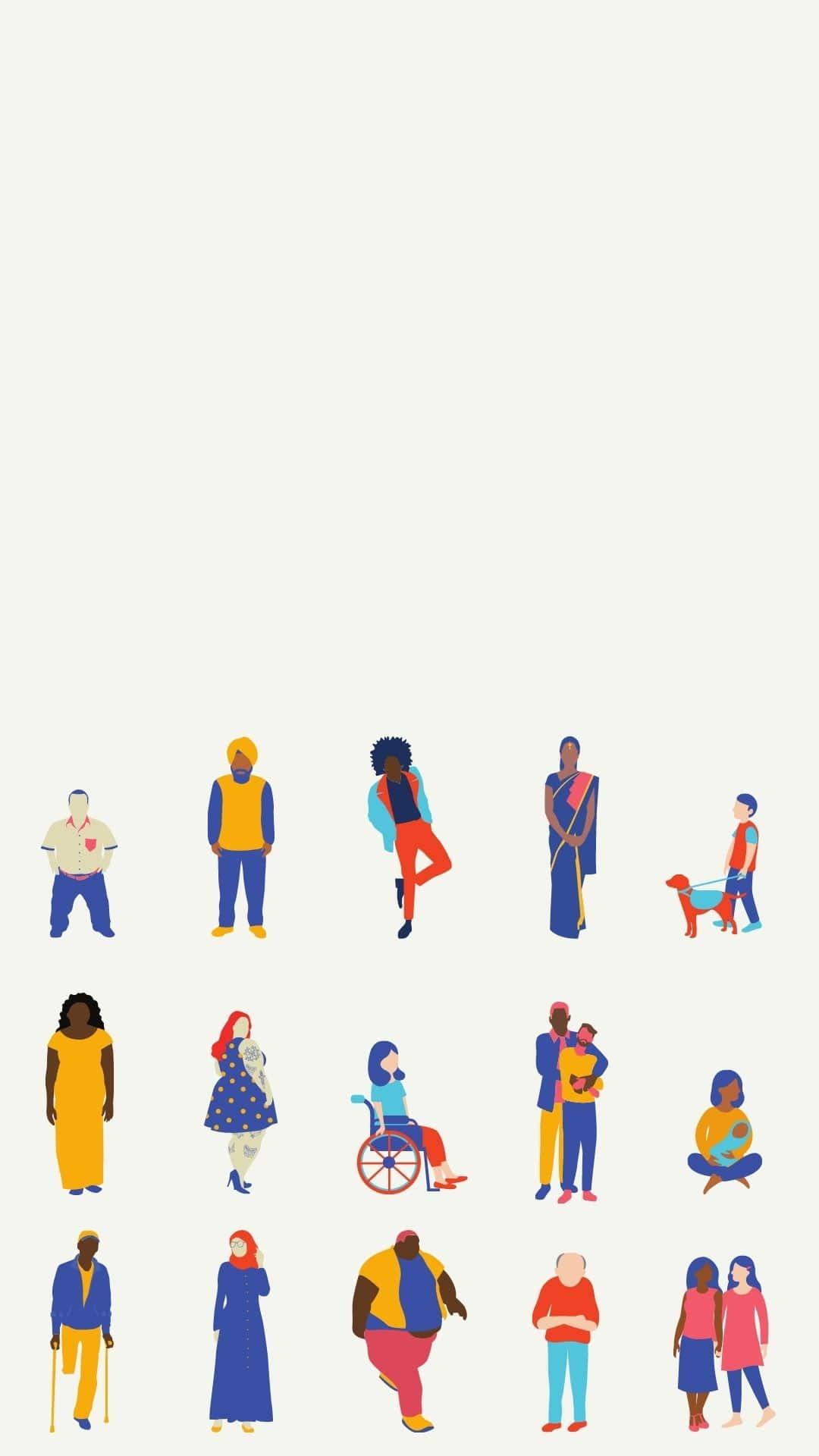 Tekeningen van diverse personen, zoals een persoon in een rolstoel, een dikke zwarte man, een homokoppel, etc.