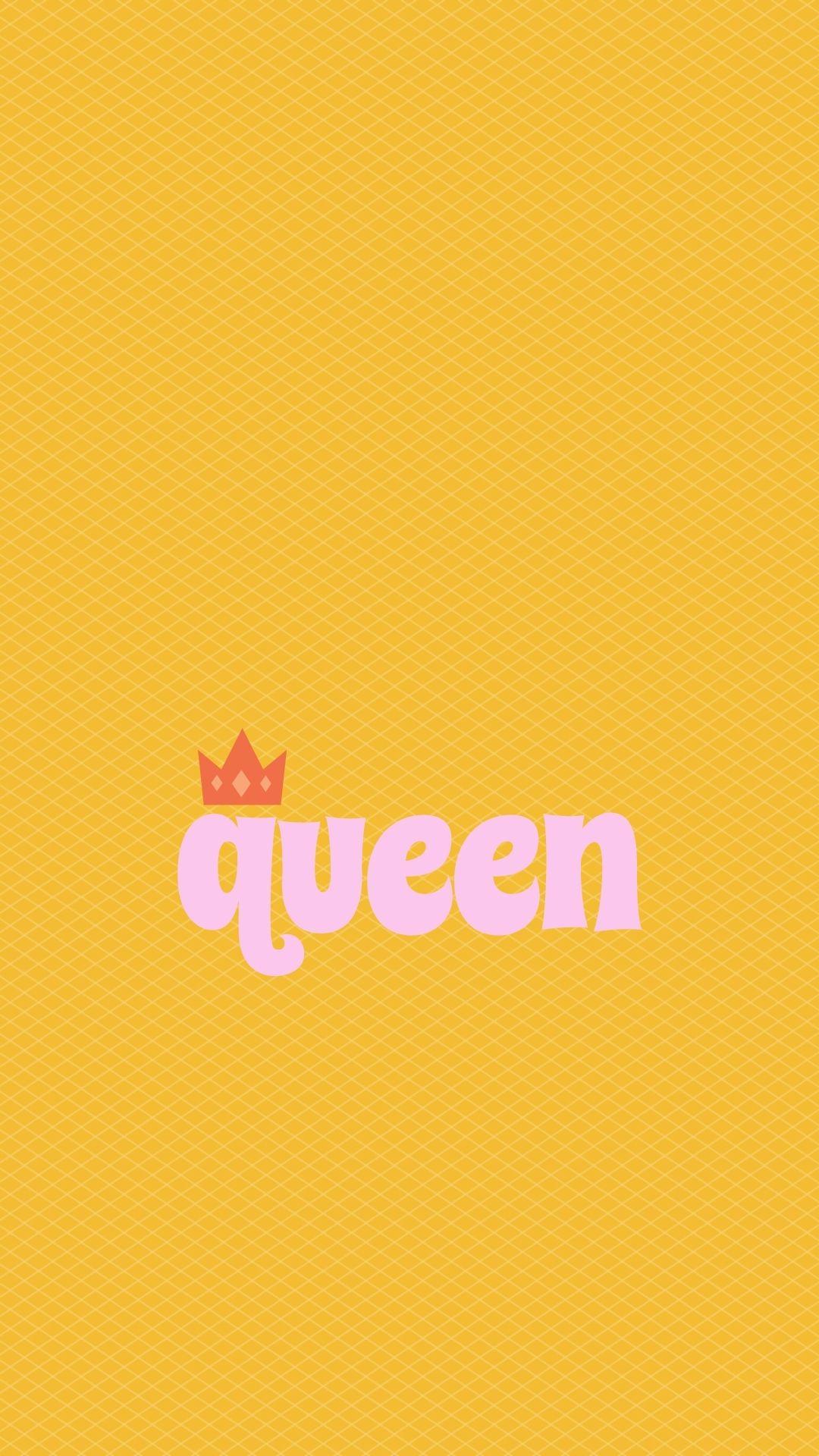 Het woord 'queen' met een kroontje op de letter q