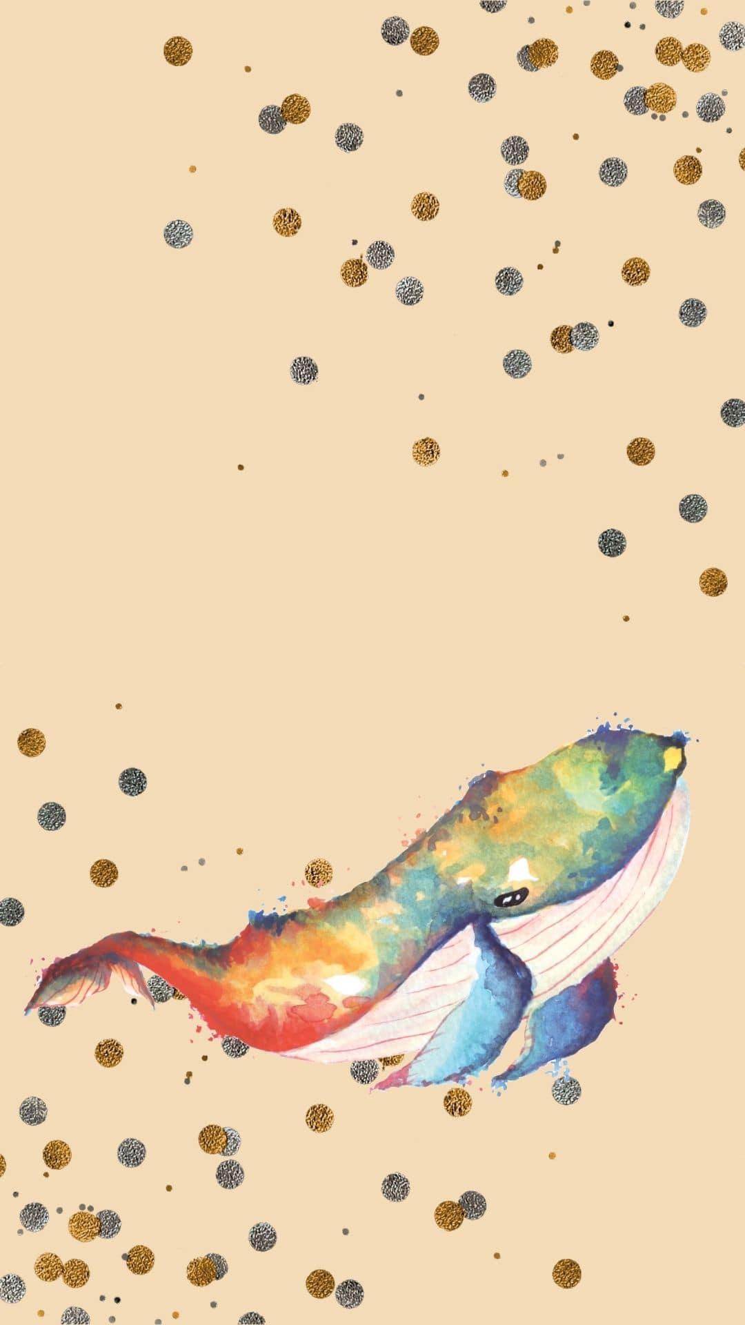 Tekening van een walvis in aquarelkleuren